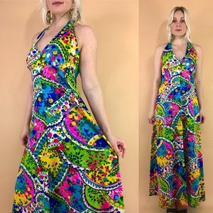 1960s psychedelic open back halter maxi dress S/M